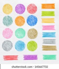 Set of color pencil design elements