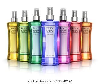 Set of color perfume bottles isolated on white background