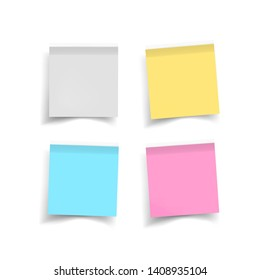 Set of color stickers papers. Note paper with curled corner. illustration isolated on white background