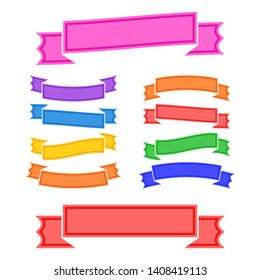Set of colored  banner ribbons on white background. Simple flat  illustration. With space for text. Suitable for infographics, design, advertising, holidays, labels.