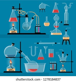 A set of colored chemical flasks and other utensils. Chemistry laboratory reactions.