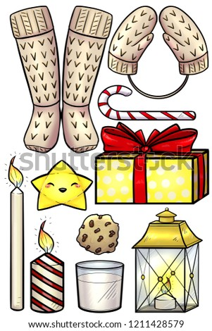 Set Colored Christmas Stickers Christmas Stickers Stock Illustration