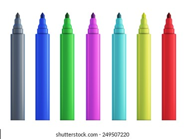 Set of colored felt-tip pens without cap. Front view.