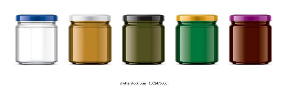 Set of Colored Glass Jar Mockup. 3d rendering