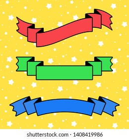 Set of colored insulated ribbons banners on a yellow background. Simple flat  illustration. With space for text. Suitable for infographics, design, advertising, holidays, labels.