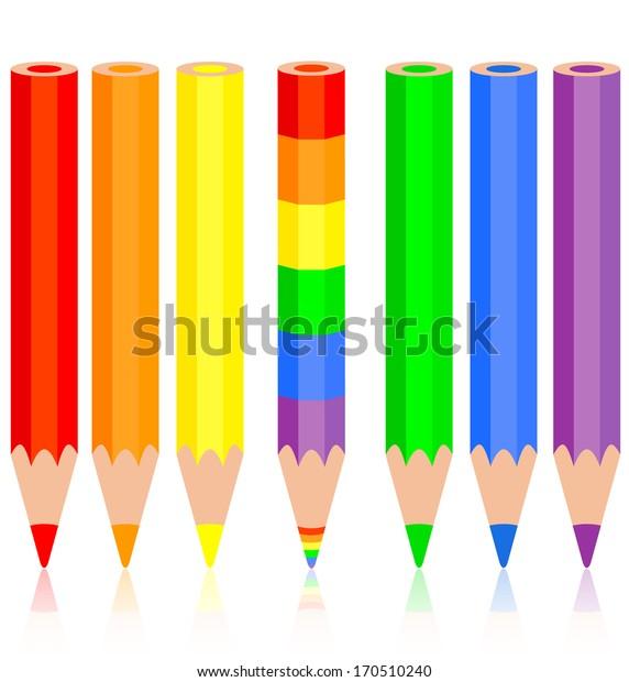 Set of colored pencil, a rainbow pencil near,  illustration.