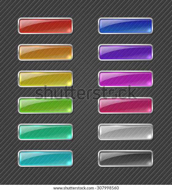 Set of colored transparent glowing web buttons on dark background. Raster version