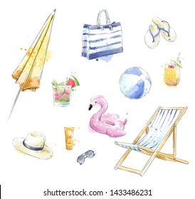 Set of colorful beach accessories. Beach clipart.