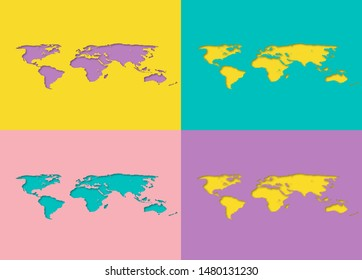 Set of colorful bight world paper cut out yellow, violet, pink, blue maps