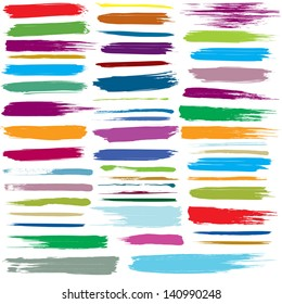 Set of colorful brush strokes. For vector version, see my portfolio.