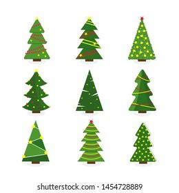 Set of colorful cartoon Christmas tree. Modern different flat design. illustration.