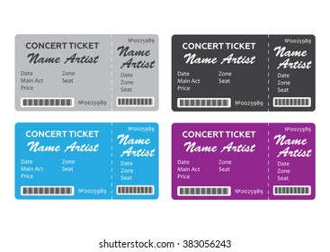 Set of Colorful Concert Tickets