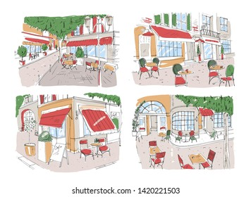 Set of colorful freehand drawings of sidewalk cafe or restaurant on city street. Colored sketches of tables and chairs standing outside of antique buildings. Beautiful hand drawn illustration
