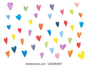 set of colorful heart shape watercolor illustration