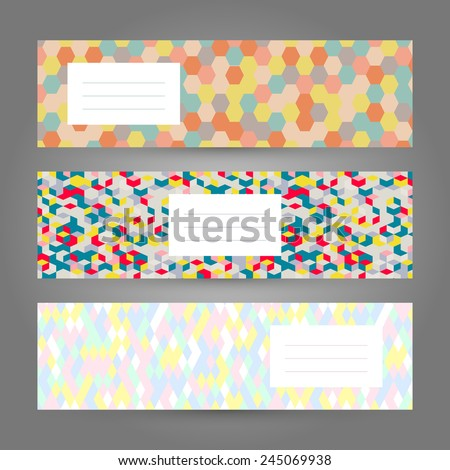 set colorful horizontal banners abstract geometric stock