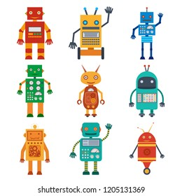 Set of colorful icons of various robots in flat style. illustration.