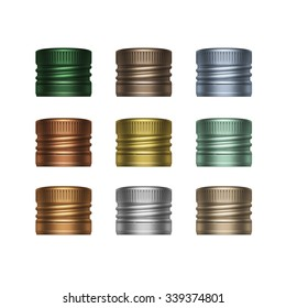 Set of Colorful Multicolored Screw Bottle Caps Isolated on White Background