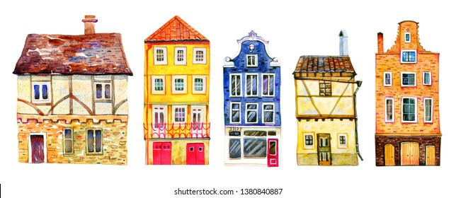 Set of colorful old stone Europe houses. Hand drawn cartoon watercolor illustration. Portuguese, Dutch, Czech, English buildings on white background