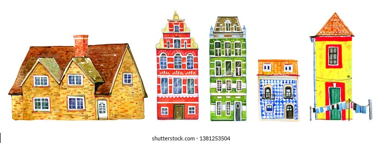 Set of colorful old stone town and country houses in a row. Hand drawn cartoon watercolor illustration. Portuguese, Dutch, English buildings on white background