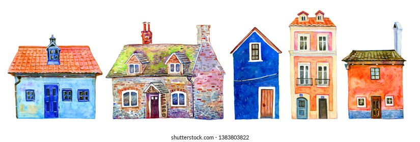 Set of colorful old stone town houses in a row. Hand drawn cartoon watercolor illustration. Portuguese, Czech, English buildings on white background