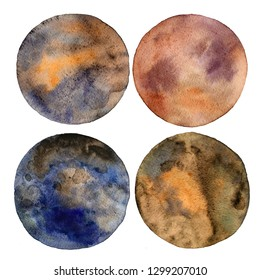 Set of colorful planets isolated on white background. Watercolor hand drawn abstract planet balls magic art work illustration. Colorful abstract geometric round shape sphere disc disk.