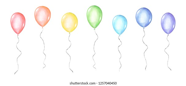Set of colorful rainbow colors watercolor happy holiday glossy helium air flying balloons isolated on white background. Watercolour hand drawn festive illustration.