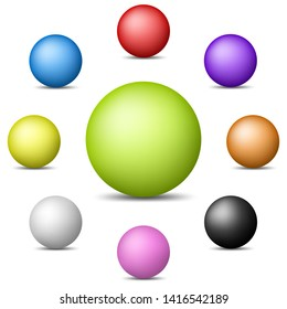 Set of colorful realistic spheres isolated on white background. Glossy shiny spheres. Illustration for design.