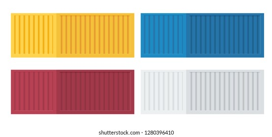 Set of colorful sea port or railway container. Transportation of goods and objects. Flat illutration.