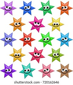 A set of colorful star shapes with happy smiling faces.