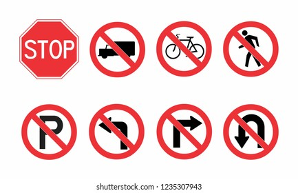 A set of colorful traffic signs illustrations