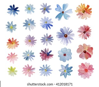 Set with colorful watercolor chamomile flowers on white background.