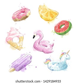 Set of colorful watercolor floaties