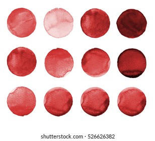 Set of colorful watercolor hand painted circle isolated on white. Watercolor Illustration for artistic design. Round stains, blobs of burgundy, brown, dark red, sienna, rufous, maroon color