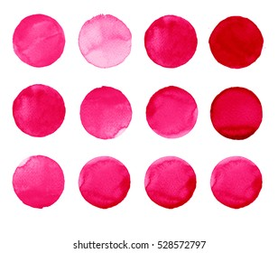 Set of colorful watercolor hand painted circle isolated on white. Watercolor Illustration for artistic design. Round stains, blobs of rose, carmine, red, burgundy color
