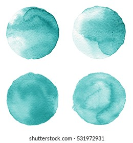 Set of colorful watercolor hand painted circle isolated on white. Watercolor Illustration for artistic design. Round stains, blobs of light blue color
