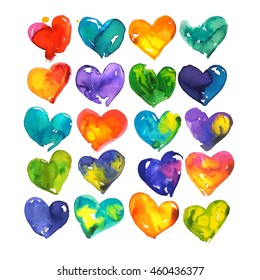 Set of colorful watercolor hearts illustration