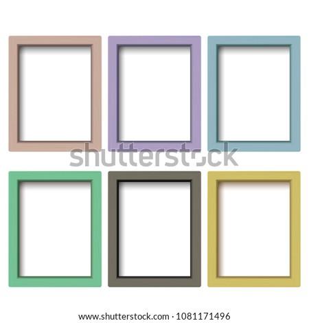 Set Colorful Wooden Frames Wooden Square Stock Illustration ...