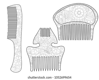 Set Comb Hair Coloring Book Adult Stock Vector Royalty Free