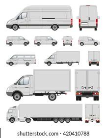 Set of commercial transport. Flat illustrationTransport