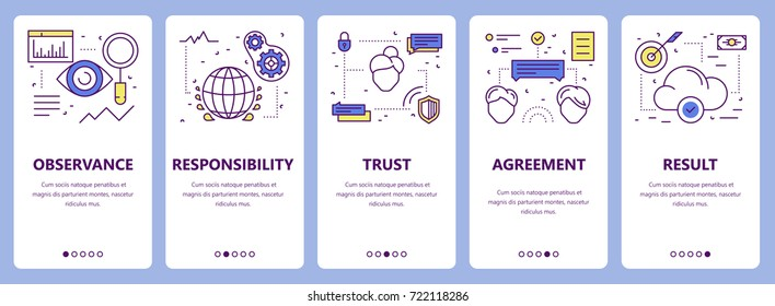 Set of commitment concept vertical banners. Observance, responsibility, trust, agreement and result concept elements. Thin line flat design symbols, icons for website menu, print.