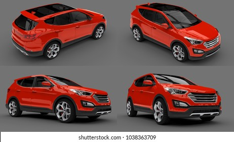 Set compact city crossover red color on a gray background. 3d rendering.