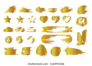 set of composed golden stickers for scratch on lottery ticket with symbols and smudges isolated on white background