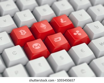 Set computer keyboard buttons with most popular cryptocurrency and common currency symbols on them - bitcoin, ethereum, litecoin, dollar, euro, yen, pound, etc, 3d illustration, concept