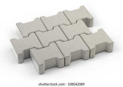 A set of concrete paving stones