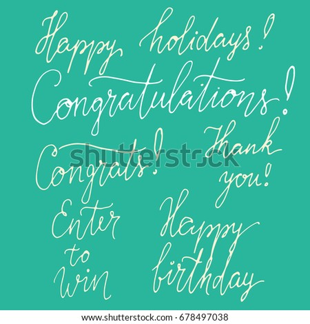 set congratulation signs happy birthday card stock illustration