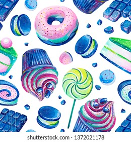 Set consist of pink and blue bonbons, lollipop, piece of cake, macaroon, cupcake, chokolate, sweet roll and doughnut