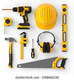 Set of construction tools for repair and installation on white background. 3d rendering and illustration of service banner for house plumber or repairman