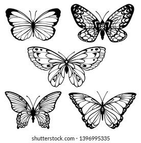758c0b5cd03aa Butterfly tattoo isolated on white background. Vector. set of contour  stylized beautiful butterflies