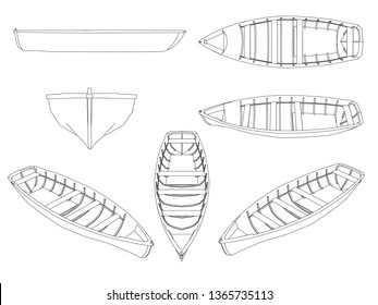 Set with contours of wooden boats. Boats of black lines on a white background. Boats isolated on white background. Different points of view. 3D illustration