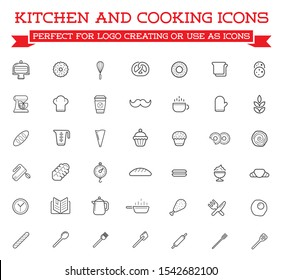 Set of Cooking Kitchen Icons Includes icons of Cookbook, Egg Beater Mixer, Cooking Pan, Kettle pour Water, Spoon Fork. Raster.